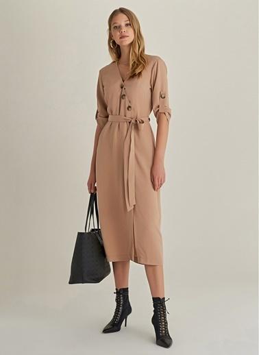 NGSTYLE Tencel Düğmeli Midi Elbise Bej